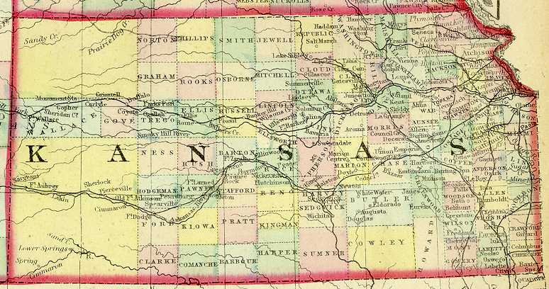 1872 Map of Kansas. Note that Wallace County (extreme left) occupies the